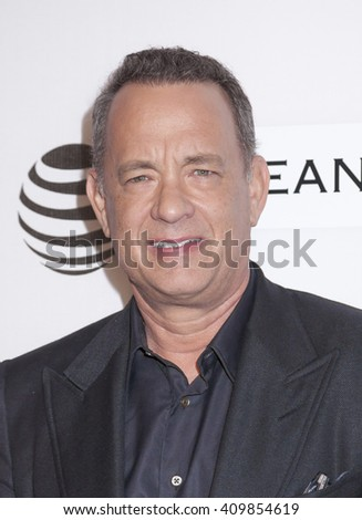 New York, NY, USA - April 22, 2016: Tom Hanks attends Tribeca Talks Storytellers: Tom Hanks with John Oliver during the 2016 Tribeca Film Festival at John Zuccotti Theater at BMCC Tribeca PAC - stock photo