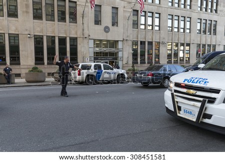 New York, NY USA - August 21, 2015: Crime scene under investigation where security guard has been killed in Federal building on Varick street