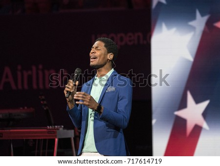 New York, NY USA - August 28, 2017:  Jon Batiste performs during the Opening Night Ceremony of 2017 US Open at Billie Jean King National Tennis center