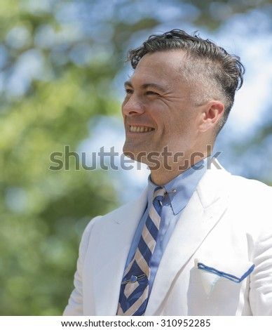 New York, NY USA - August 15, 2015: Michael Aranella performs at 10th annual Jazz Age lawn party by Michael Arenella & Dreamland Orchestra on Governors Island