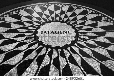 New York, NY, USA August 21: The Imagine mosaic in the Strawbery Fields section of Central Park, which pays tribute to the late John Lennon on August 21, 2014. - stock photo