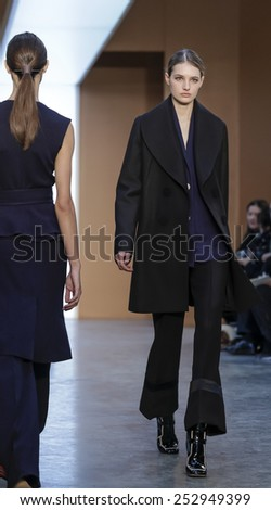 New York, NY, USA - February 15, 2015: A model walks runway for Derek Lam FW15 Runway show during Mercedes-Benz Fashion Week New York at the 545 West 22nd Street, Manhattan