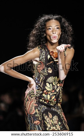 New York, NY, USA - February 12, 2015: A model walks runway for Desigual Fall 2015 Runway show during Mercedes-Benz Fashion Week New York at the Theatre at Lincoln Center, Manhattan - stock photo