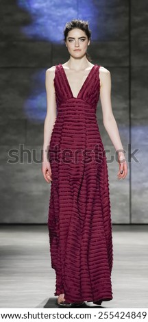 New York, NY, USA - February 17, 2015: A model walks runway for Lela Rose Fall 2015 Runway show during Mercedes-Benz Fashion Week New York at the Pavilion at Lincoln Center, Manhattan - stock photo