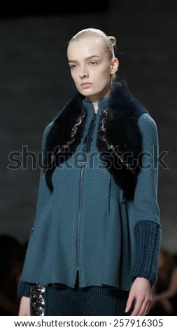 New York, NY, USA - February 14, 2015: A model walks runway for Son Jung Wan Fall 2015 Runway show during Mercedes-Benz Fashion Week New York at the Pavilion at Lincoln Center, Manhattan