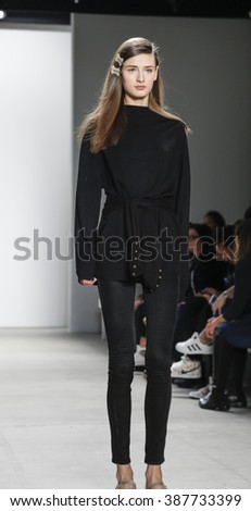 New York, NY, USA - February 14, 2016: A model walks runway rehearsal at  Jenny Packham runway show during of Fall/Winter 2016 New York Fashion Week at The Gallery, Skylight Clarcson Sq., Manhattan.