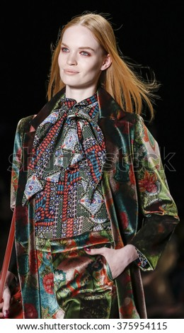 New York, NY, USA - February 11, 2016: A model walks the runway at the Desigual runway show during of Fall 2016 New York Fashion Week at The Arc, Skylight at Moynihan Station, Manhattan.  - stock photo