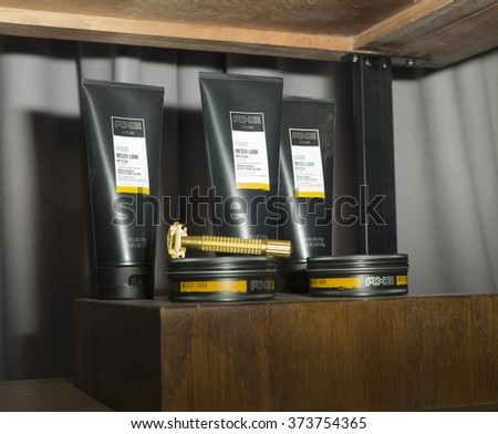 New York, NY USA - February 2, 2016: AXE hair styling products on display backstage for Stampd by Chris Stamp during New York fall 2016 fashion week at Clarkson Square - stock photo