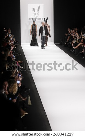 New York, NY, USA - February 19, 2015: Erik Rosete walks runway for a Mister Triple X Fall 2015 collection at Art Hearts Fashion Presented By AHF fashion show during MBFW at Theatre at Lincoln Center - stock photo