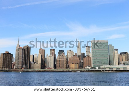 NEW YORK, NY, USA-JAN 28: Manhattan Skyline on a cold day in winter, January 8, 2014