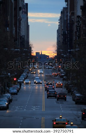 NEW YORK, NY, USA-JAN 12: 23nd Street form high Line before sun rise on the Manhattanhenge day, January 12, 2014