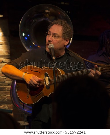 New York, NY USA - January 6, 2017: Wade Schuman of Hazmat Modine performs during 2017 New York Winter Jazz festival on stage at Le Poisson Rouge
