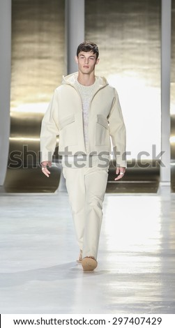 New York, NY, USA - July 16, 2015: A model walks runway at the Perry Ellis Runway show during New York Fashion Week: Men's S/S 2016 at Skylight Clarkson Sq, Manhattan