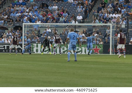 New York, NY USA - July 30, 2016: Frank Lampard (8) of NYC FC scores goal during MLS game between NYC FC & Colorado Rapids at Yankees stadium NYC FC won 5 - 1