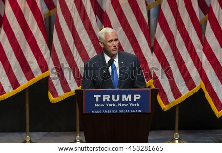 New York, NY USA - July 16, 2016: Mike Pence speaks during Donald Trump introduction Governor Mike Pence as running for vice president at Hilton hotel Midtown Manhattan - stock photo
