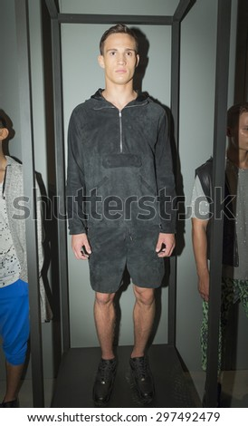New York, NY USA - July 14, 2015: Model Julian Schneyder poses at Anzevino Getty presentation during Menâ??s fashion week S/S 2016 at Skylight Clarkson Square