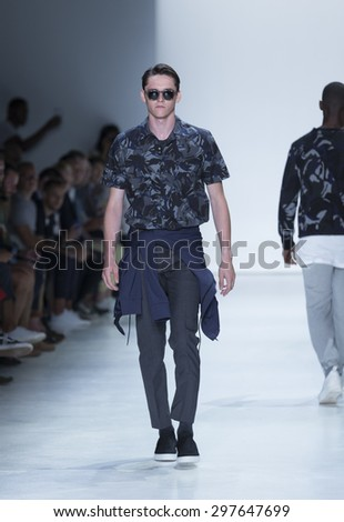 New York, NY USA - July 14, 2015: Model walks runway for Ovadia & SOns show during Mens fashion week S/S 2016 at Skylight Clarkson Square - stock photo