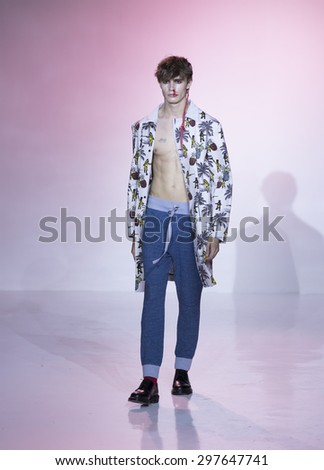 New York, NY USA - July 14, 2015: Model walks runway for Thaddeus O�¢??Neil show during Mens fashion week S/S 2016 at Skylight Clarkson Square - stock photo