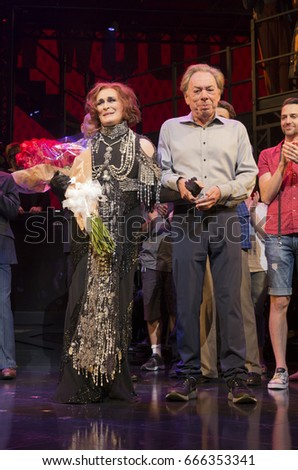 New York, NY USA - June 25, 2017: Glenn Close, Andrew Lloyd Webber on stage of Palace theater during Sunset Boulevard last performance on Broadway curtain call