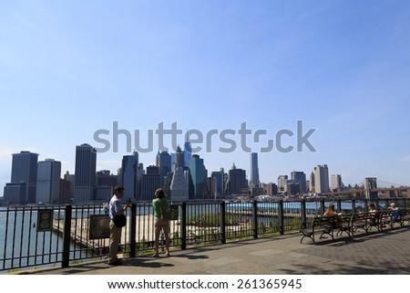 New York, NY USA - June 29, 2014: Manhattan: Manhattan skyline from Brooklyn Heights Promenade - stock photo