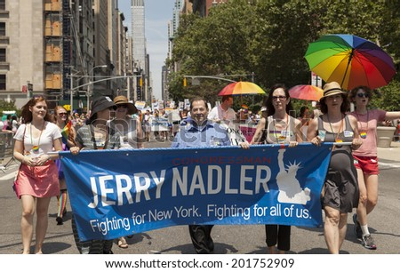 New York, NY USA - June 29, 2014: US Congressman Jerry Nadler attends annual 44th Pride Parade on Fifth Avenue in Manhattan - stock photo