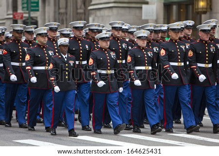 NEW YORK, NY, USA - MAR 16: Marines at the St. Patrick's Day Parade on March 16, 2013 in New York City, United States.