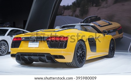 New York, NY USA - March 23, 2016: Audi R8 Spyder sport car unvieled at New York International Auto Show at Jacob Javits Center - stock photo