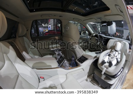 New York, NY USA - March 24, 2016: Interior of Volvo XC90 T6 SUV on display at New York International Auto Show at Jacob Javits Center
