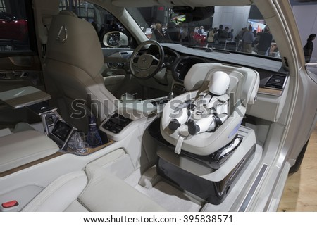 New York, NY USA - March 24, 2016: Interior of Volvo XC90 T6 SUV on display at New York International Auto Show at Jacob Javits Center - stock photo