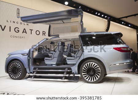 New York, NY USA - March 23, 2016: Lincoln Navigator concept car on display at New York International Auto Show at Jacob Javits Center - stock photo