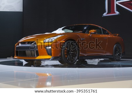New York, NY USA - March 23, 2016: Nissan GT-R unveiled at New York International Auto Show at Jacob Javits Center - stock photo