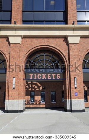 New York, NY, USA - March 1, 2016: Tickets booth of Citi Field : Home of major league baseball team the New York Mets. - stock photo