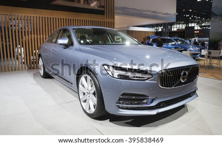 New York, NY USA - March 24, 2016: Volvo S90 on display at New York International Auto Show at Jacob Javits Center - stock photo