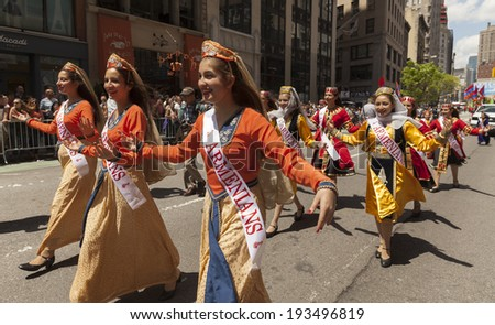 New York, NY USA - May 17, 2014: Armenian dance ensemble Shushi performs on 8th annual dance parade on Broadway - stock photo