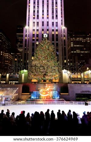 New York, NY, USA NEW YORK CITY -January 8, 2016: New York City landmark, the famous Rockefeller Center Christmas tree during the holidays. - stock photo