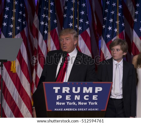 New York, NY USA - November 8, 2916: Donald Trump elected 45th President of USA speaks on stage during victory party at Hilton hotel New York