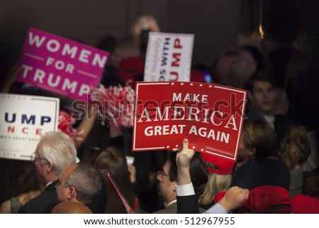 New York, NY USA - November 8, 2916: Donald Trump elected 45th President of USA supporters attend victory party at Hilton hotel New York