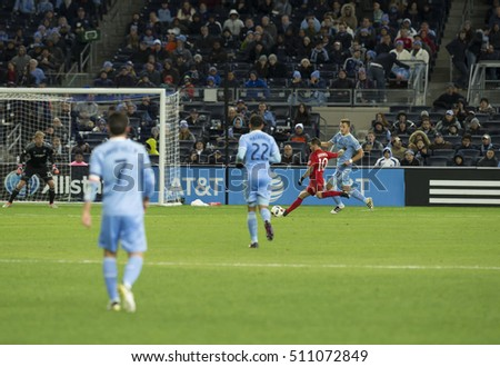 New York, NY USA - November 6, 2016: Sebastian Giovinco (10) of Toronto FC controls ball during MLS Cup Eastern Conference semifinal against NYC FC at Yankee stadium Toronto won 5 - 0