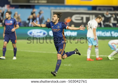 New York, NY USA - October 23, 2016: David Villa (7) of NYC FC celebrate scoring goal during last regular season MLS game between NYC FC & Columbus Crew SC NYC FC won 4 - 1