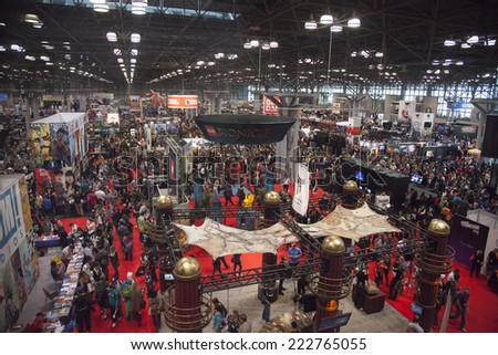 New York, NY, USA - October 10 2014: General atmothfere on convention floor during Comic Con 2014 at The Jacob K. Javits Convention Center in New York City - stock photo