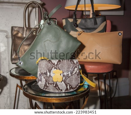 New York, NY, USA - October 15 2014: Handbags by TOUS on display during TOUS Backstage Winter Party featuring the new Fall/Winter 2014 Collection Back to the origins at Norwood in New York City - stock photo