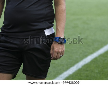 New York, NY USA - October 16, 2016: Referee uses Polar electronic watch and monitor MLS game between New York Red Bulls & Columbus Crew SC Red Bulls won 3 - 2