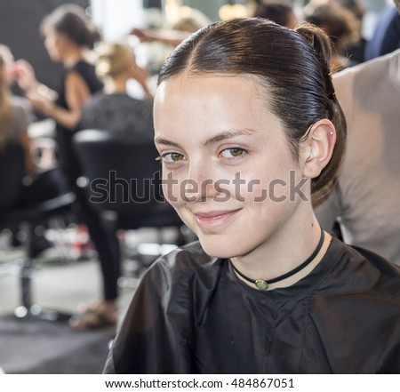 New York, NY, USA - September 11, 2016: A model prepares backstage for Custo Barcelona Spring/Summer 2017 runway show during New York Fashion Week SS2017 at Pier 59 Studios at Chelsea Piers, Manhattan