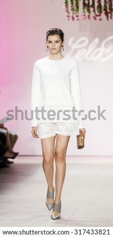 New York, NY, USA - September 14, 2015: A model walks the runway at Lela Rose runway show during of Spring 2016 New York Fashion Week at The Gallery, Skylight Clarkson Sq., #CFDANYFW, #NYFW, #lelarose - stock photo