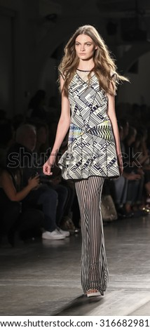 New York, NY, USA - September 11, 2015: A model walks the runway for Custo Barcelona Spring/Summer 2016 'SLOW' runway 'show during of Spring 2016 New York Fashion Week at Pier 59 Studios Chelsea Piers - stock photo