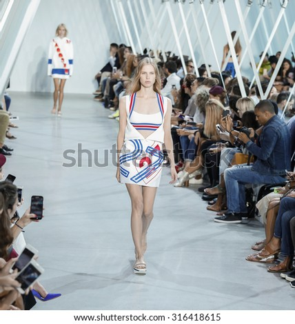 New York, NY, USA - September 12, 2015: A model walks the runway for Lacoste fasion show during of Spring 2016 New York Fashion Week at Spring Studios, Manhattan. #CFDANYFW, #NYFW, #LACOSTE - stock photo