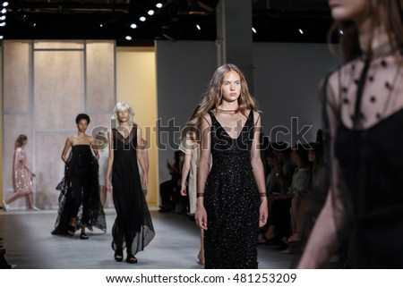 New York, NY, USA - September 8, 2016: A models walk runway for the NOON BY NOOR Spring/Summer 2017 runway show during New York Fashion Week SS 2017 at The Gallery at Skylight Clarcson Sq