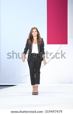 New York, NY, USA - September 12, 2015: Designer Monique Lhuillier walks runway at Monique Lhullier runway show during of Spring 2016 New York Fashion Week at The Arc, Skylight at Moynihan Station