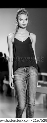 New York, NY, USA - September 04, 2014: Model walks rehersal for Marissa Webb Spring 2015 Runway show during Mercedes-Benz Fashion Week New York at the Salon at Lincoln Center, Manhattan - stock photo