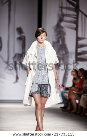 New York, NY, USA - September 08, 2014: Model walks runway for Lela Rose Spring 2015 Runway show during Mercedes-Benz Fashion Week New York at the Pavilion at Lincoln Center, Manhattan - stock photo
